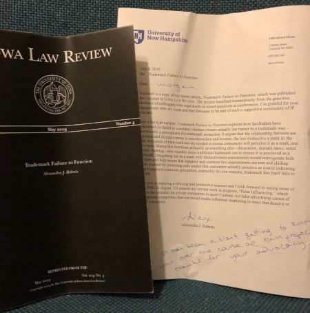 Iowa Law Review Trademark Failure to Function and Letter from Dr. Roberts